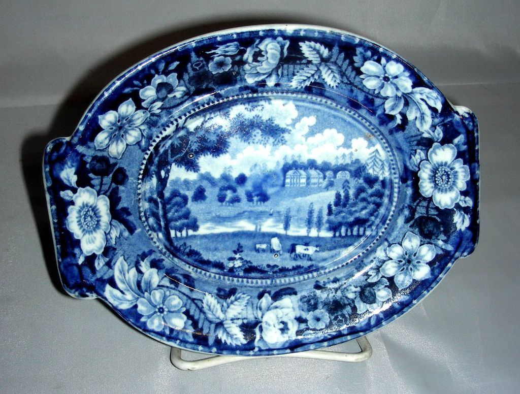 Blue Historical Staffordshire Gravy Tureen Undertray ~ Redgrave Hall, Stevenson's Wild Rose Border Series