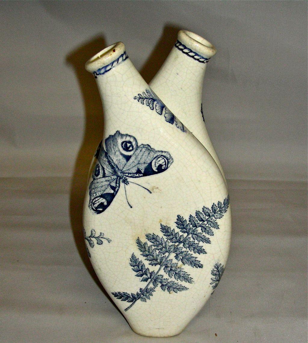 Blue Staffordshire Aesthetic Transfer Oil & Vinegar Double Cruet w/ Butterflies & Ferns c. 1880