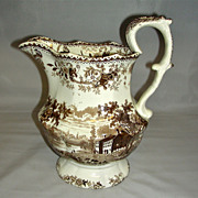 American Historical Staffordshire Pitcher Skenectady (Schenectady) on the Mohawk River, John & Job Jackson (Brown Transfer), c. 1840