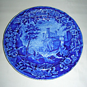 Dark Blue Historical Staffordshire Plate:  Vue d'une Ancienne Abbaye from the French Series by Enoch Wood, c. 1825-30