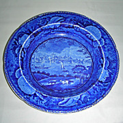 Dark Blue American Historical Staffordshire Soup Bowl: City of Albany from Shell Border Series by Wood, c. 1830