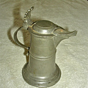 Very Small 19th C German Pewter Holy Water Jug w/ Touch Marks