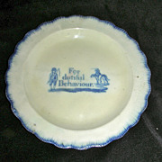 Blue Leeds Shell Edge Child's Plate ~ For Dutiful Behaviour w/ Boy Riding Dog c. 1820