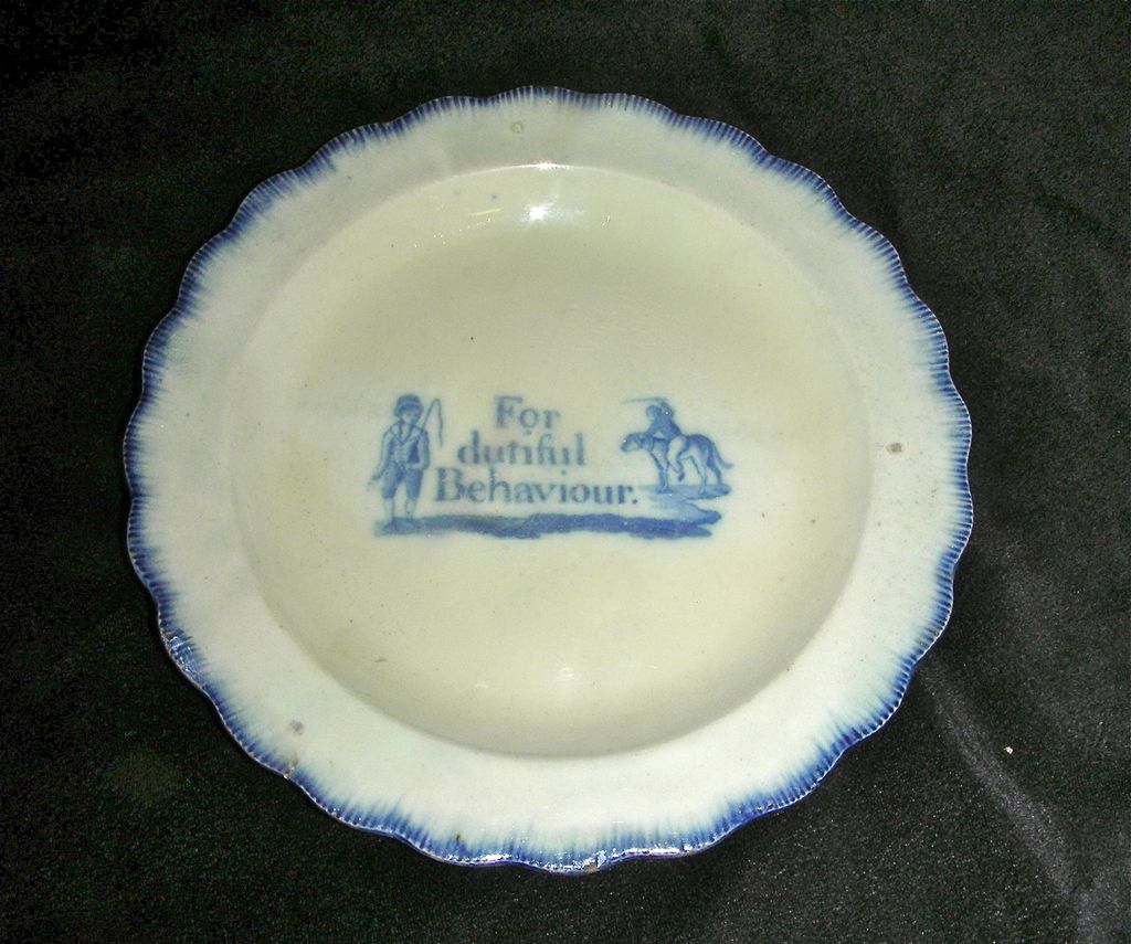 Blue Leeds Shell Edge Child's Plate ~ For Dutiful Behaviour w/ Boy Riding Dog c. 1820