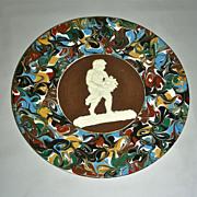 Slip Decorated Marbled Mocha Ware Mochaware Plate w/Sprig Cherub Figure by Thomas Fradley, c. 1875