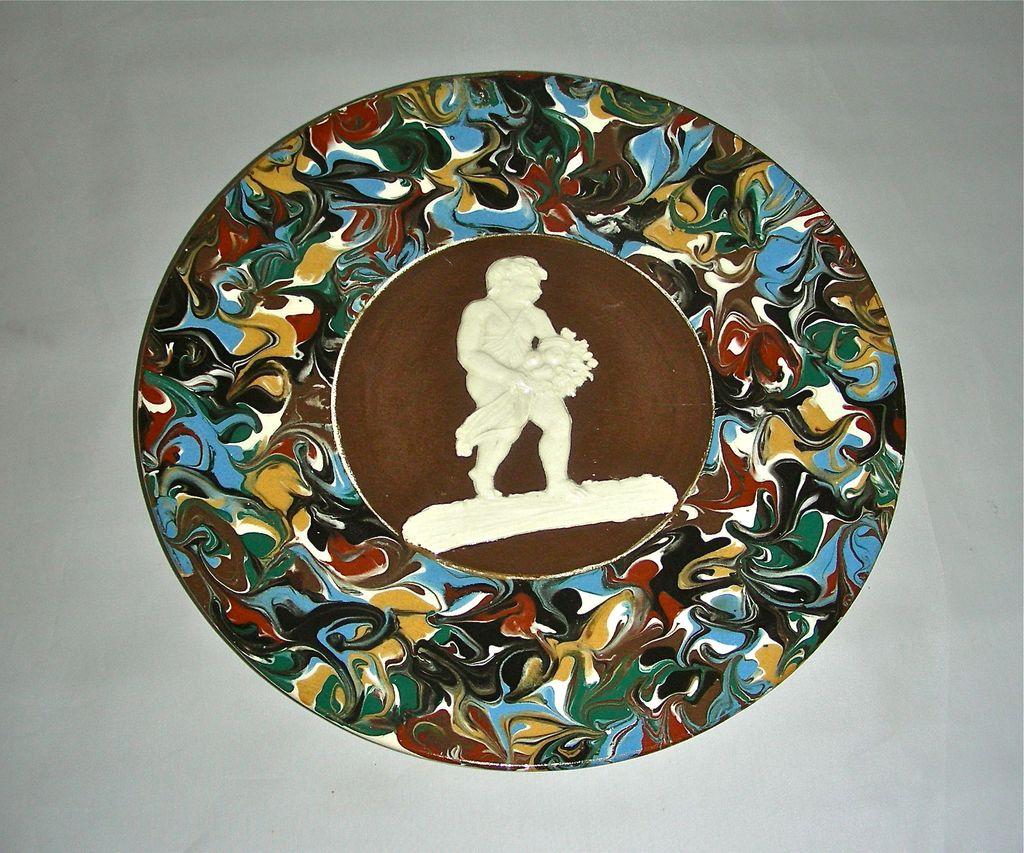 Slip Decorated Marbled Mocha Ware Mochaware Plate w/Sprig Cherub Figure by Thomas Fradley, c. 1875