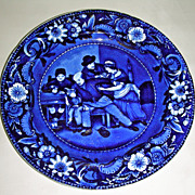 Dark Blue Staffordshire Plate ~ The Valentine from Clews' Wilkie's Design Series, c. 1825