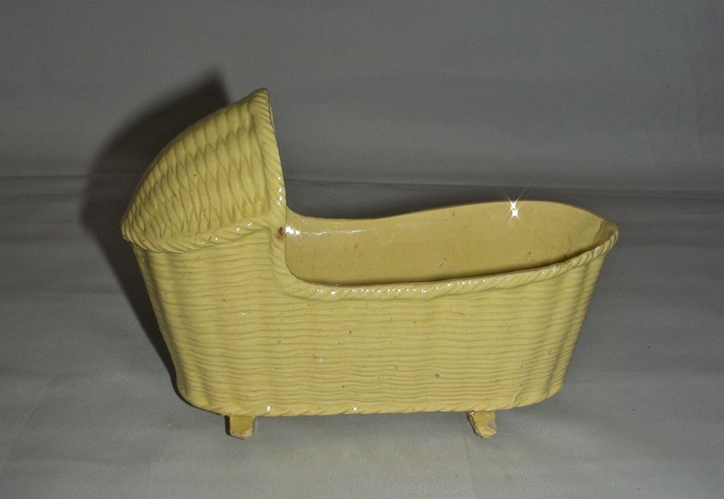 Small & Delicate Yellow Ware Bonnet Top Cradle , mid-19th Century