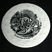 "Tiny Staffordshire Toy Plate ""Indian Chiefs"", c. 1850"