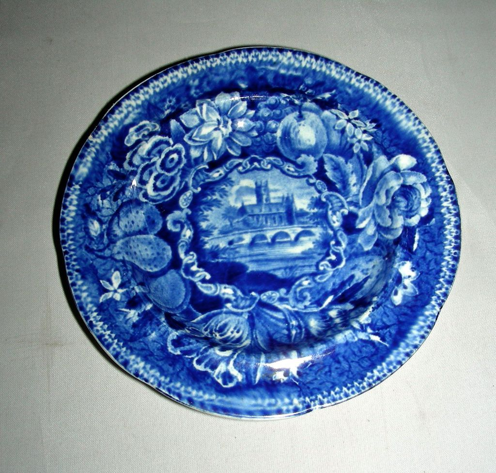 Dark Blue Historical Staffordshire Cup Plate: Worcester Cathedral, c. 1830
