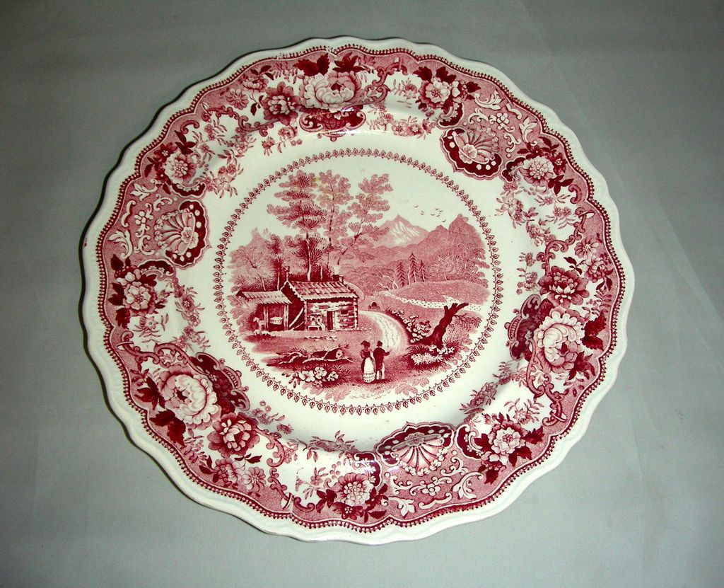 "Pink American Historical Staffordshire 9"" Plate: View Near Conway, N. Hampshire by Adams, c. 1835"