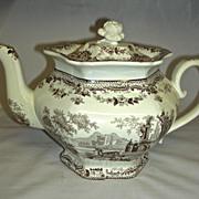 "Large Brown Transfer Staffordshire Teapot ""Antiquarian"" Pattern, c. 1840"