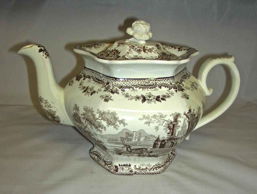 "Large Brown Transfer Staffordshire Teapot ""Antiquarian"" Pattern, c. 1840"