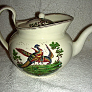 Mid-19th C Wedgwood Teapot w/ Exotic Birds & Color Image