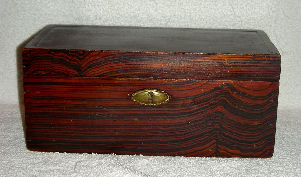 Small 19th C Comb or Grain Painted Document Box
