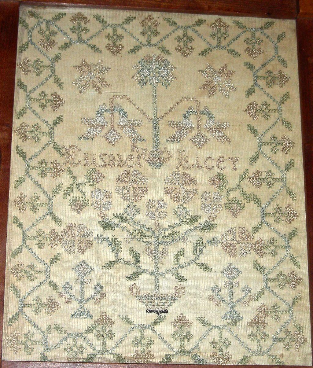Silk on Silk Needlework Sampler by Elizabeth Lacey, Possibly Pennsylvania, c. 1820