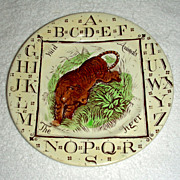 Staffordshire Child's Alphabet (ABC) Plate w/ Tiger, Wild Animals Series, 1882