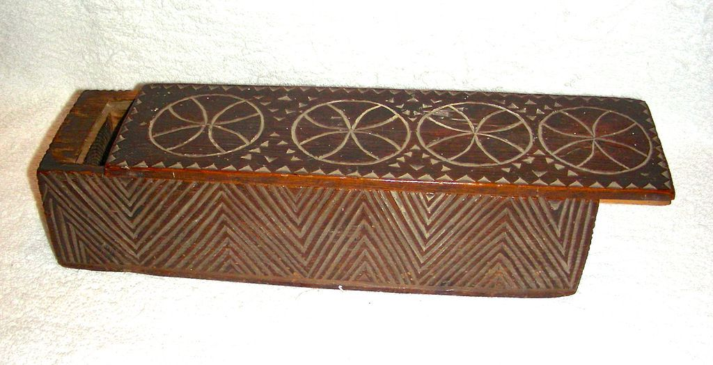18th Century Chip Carved Frisian Slide Lid Candle Box w/ Compass Decoration, Initials and 1800 Date