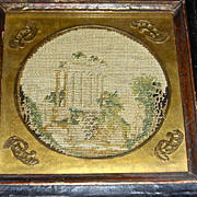 Very Small or Miniature Round Needlework Picture c. 1840 w/ Original Frame