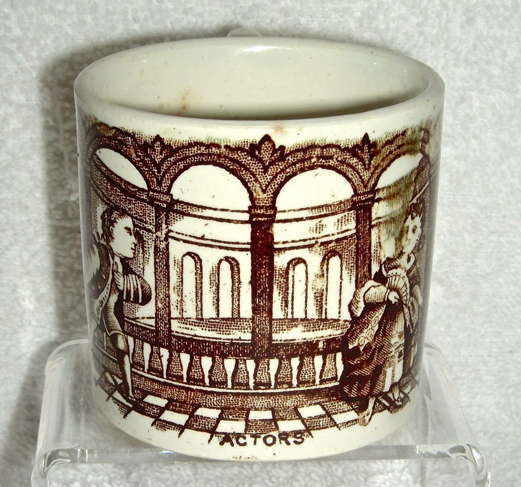 Staffordshire Child's Mug w/ Brown Transfer: Actors, c. 1850-60