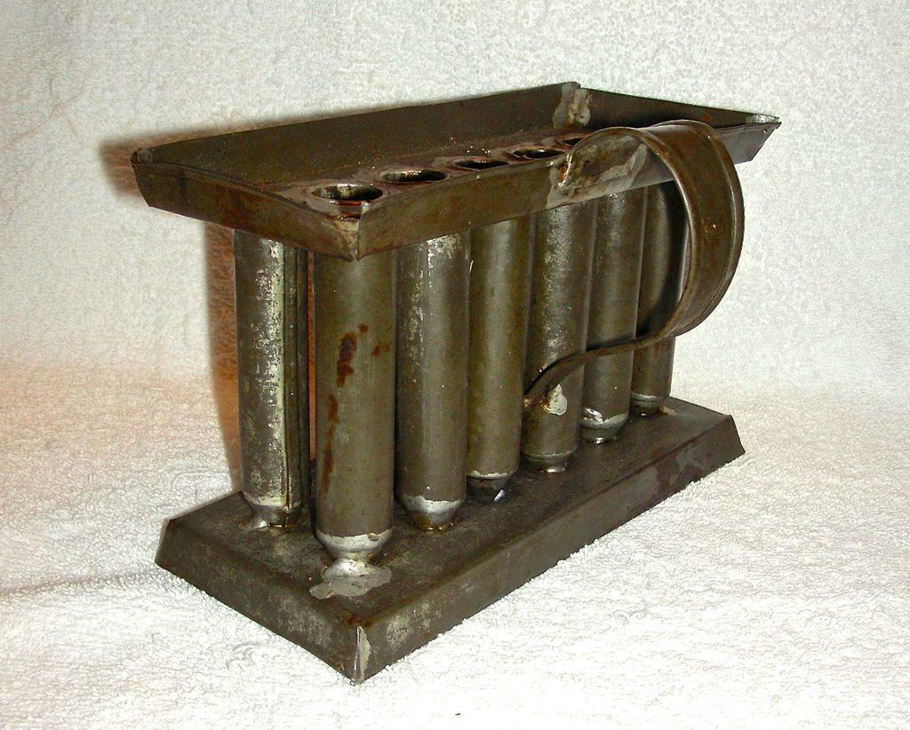 Squatty 12 Tube Miniature Tin Candle Mold on Base, c. 1860