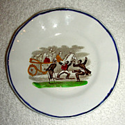 "Polychrome Staffordshire Child's Plate w/ Black Minstrels: ""The Ethiopians"", mid-19th Century"
