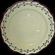 7 1/2 Inch English Creamware Plate w/ Purple Edge & Trailing Vine Border, Marked Wedgwood, c. 1810