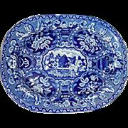 "Dark Blue Staffordshire Platter:  ""Beehive and Vase"" Pattern, c. 1825"