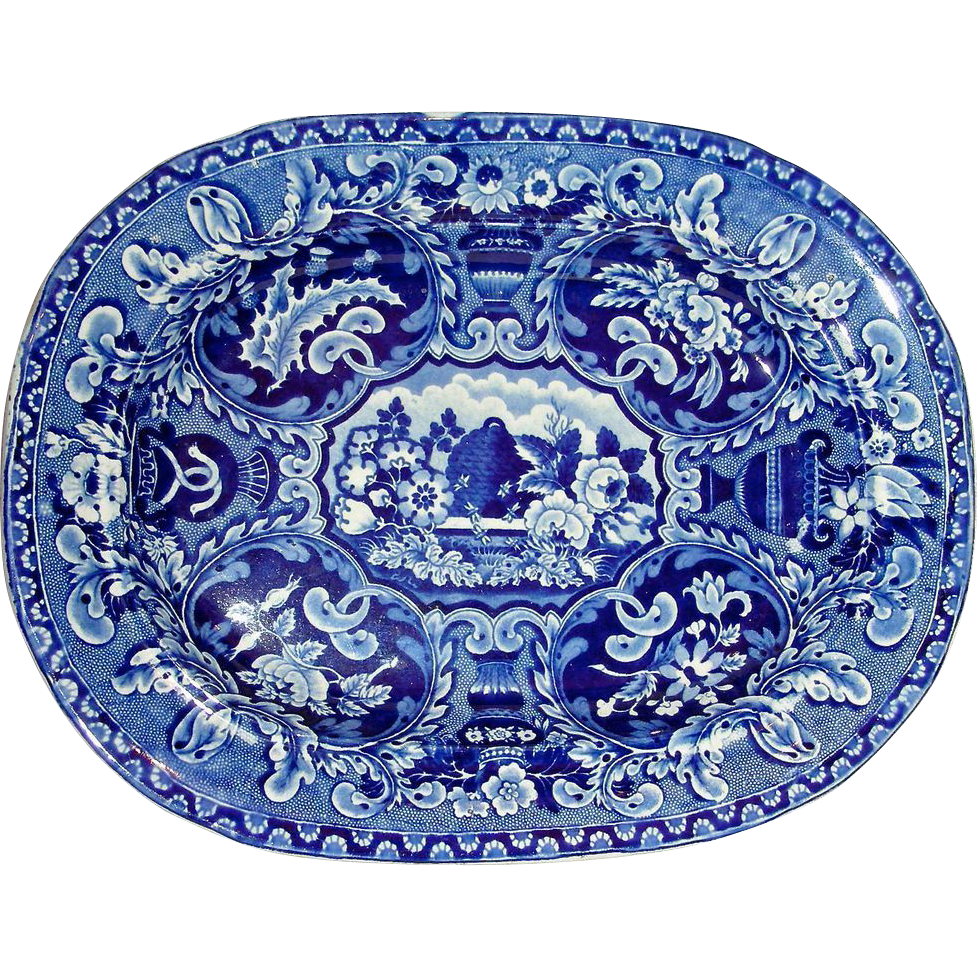"Dark Blue Staffordshire Platter:  ""Beehive and Vase"" Pattern, c. 1825"