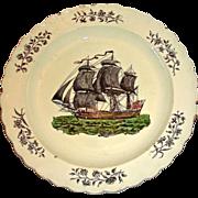 English Creamware Plate w/ American Sailing Ship, c. 1820