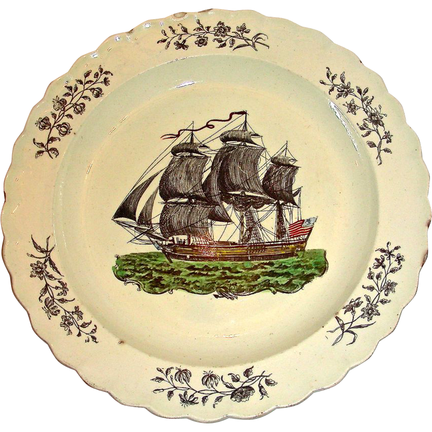 English Creamware Plate w/ American Sailing Ship, c. 1820