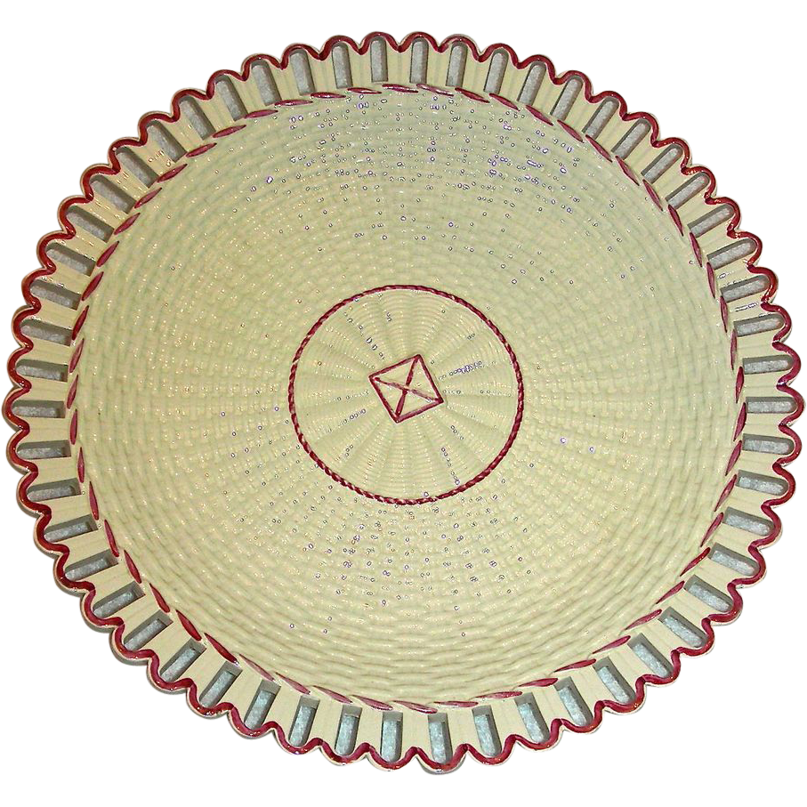 "11 ½"" English Creamware Charger w/ Arcaded Edge, Molded Basket Weave Decoration and Rare Raspberry Highlights, c. 1820"
