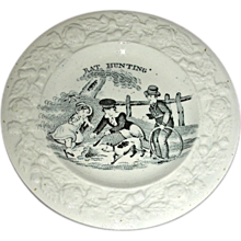 "19th Century Staffordshire Child's Plate: ""Rat Hunting"""