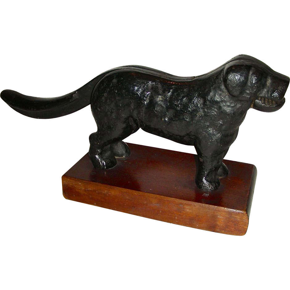Dog Figural Nutcracker Mounted on Wooden Base