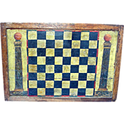 Double Sided Painted American Game Board: Checkers w/ Fraternal Columns and Backgammon, c. 1900
