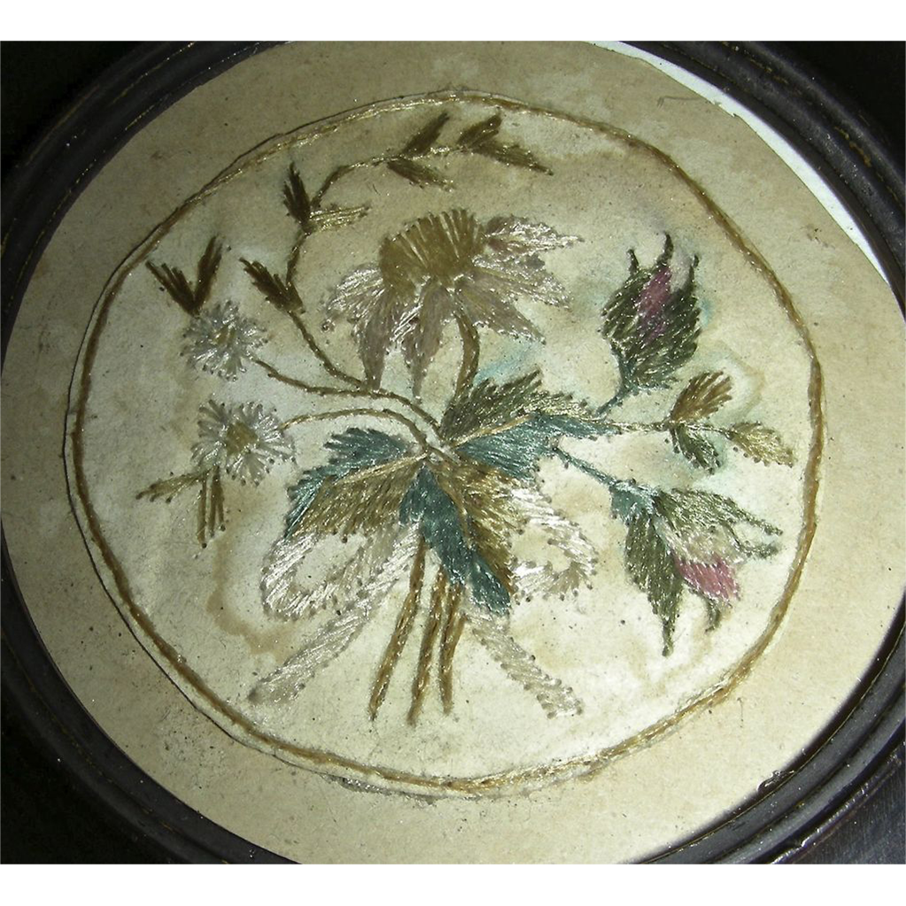 19th Century Crewel Work Needlework Watch Sampler w/ Rose Flowers & Leaves