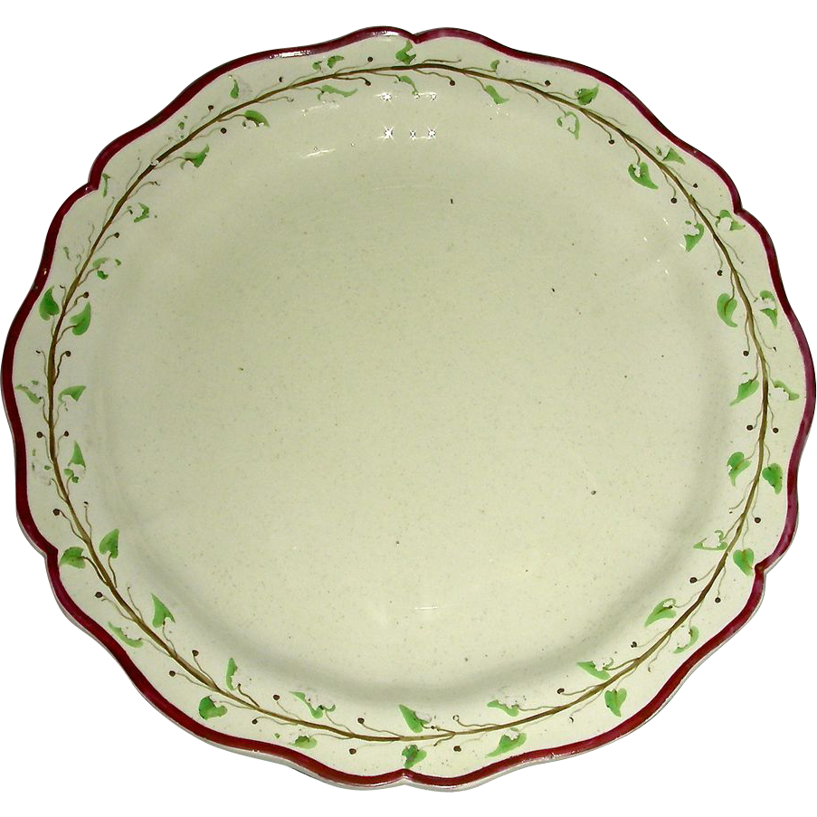 "Early 8"" English Creamware Plate, Marked Turner w/ Purple Edge and Trailing Vine Border, c. 1800"