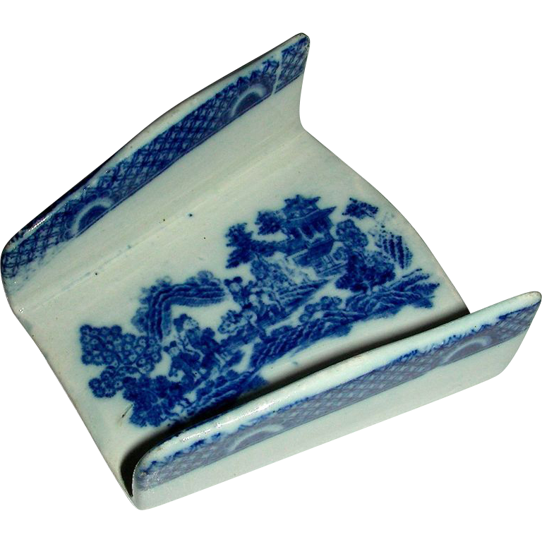 Blue Staffordshire Asparagus Server w/ Boy on a Buffalo Transfer, c. 1810-1820