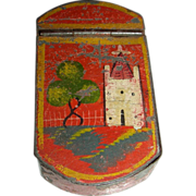 Miniature Red Painted & Decorated Tin Toleware Snuff or Pill Box, c. 1840