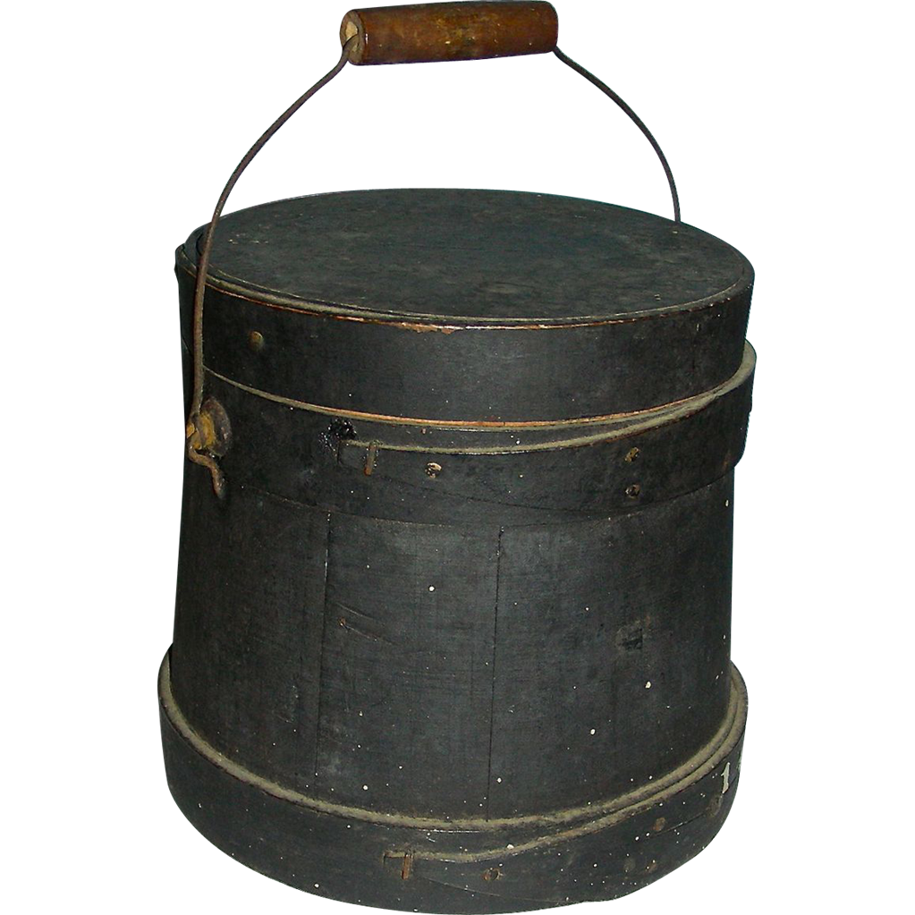 Small Dark Green Bail Handled Covered Firkin in Original Surface