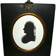 Painted Silhouette on Plaster Dated 1793 of Identified Woman w/ Frizzy Hair