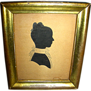 Hollow Cut Silhouette of Attractive Young Woman in Lemon Gold Frame, c. 1825-35 - Red Tag Sale Item