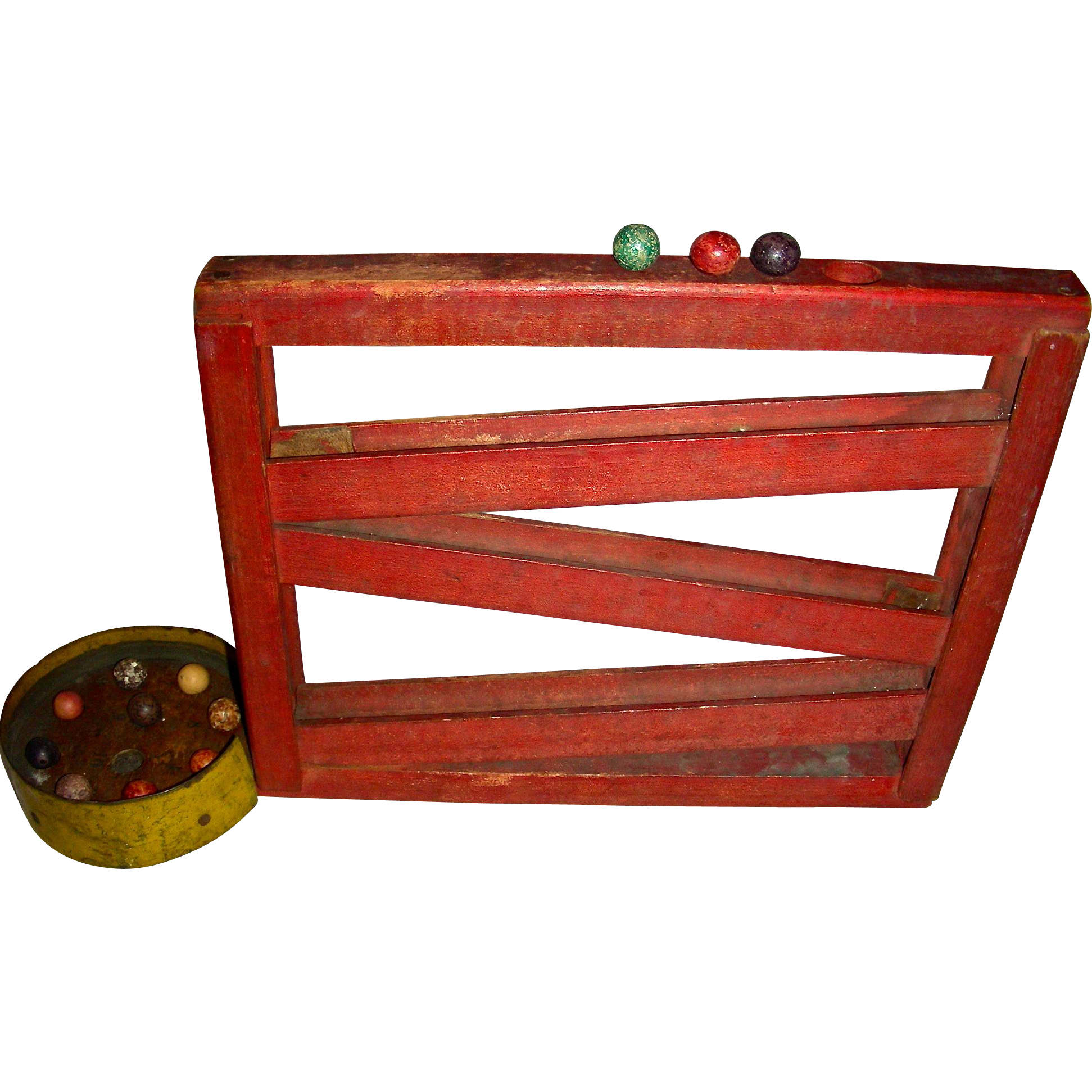 Early 20th Century Wooden Marble Ramp Game w/ Marbles