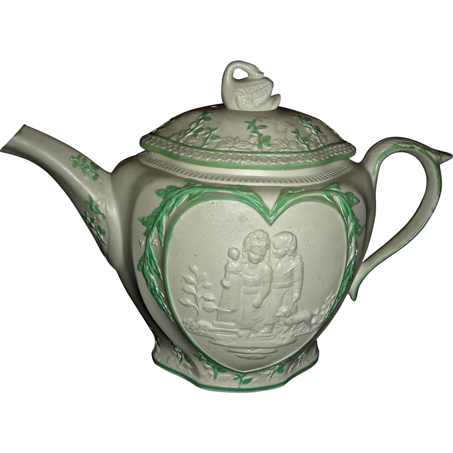 Staffordshire Molded (or Sprig Decorated) Stoneware & Green Enameled Teapot, c. 1790: Sportive Innocence & Mischievous Sport
