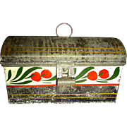 Small Decorated Toleware Document Box with Red Cherries on White Band, c. 1860