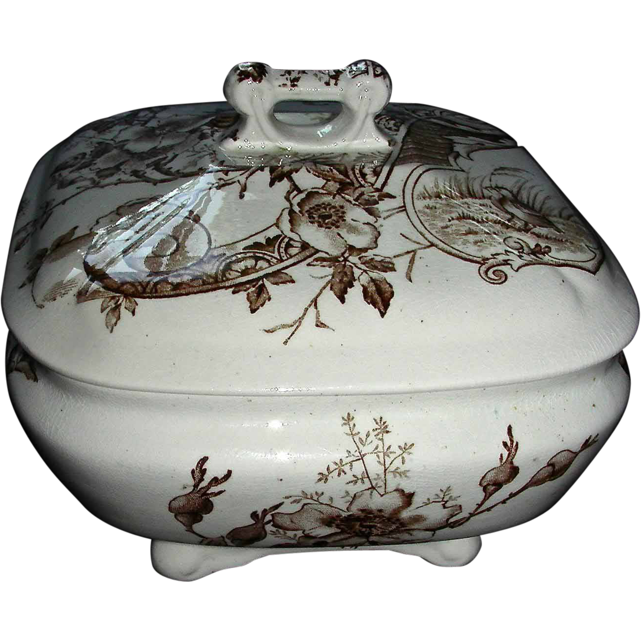 Brown Staffordshire Aesthetic Transfer 3 Piece Soap Dish, Melrose Pattern, 1884