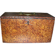 Sponge Decorated, Dovetailed Fall-Front Microscope Box or Case w/ Original Surface and Key