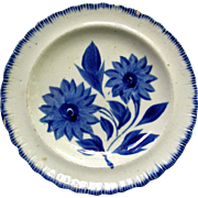 Blue Shell (Feather) Edge Cup Plate w/ Blue Floral Decoration, c. 1820