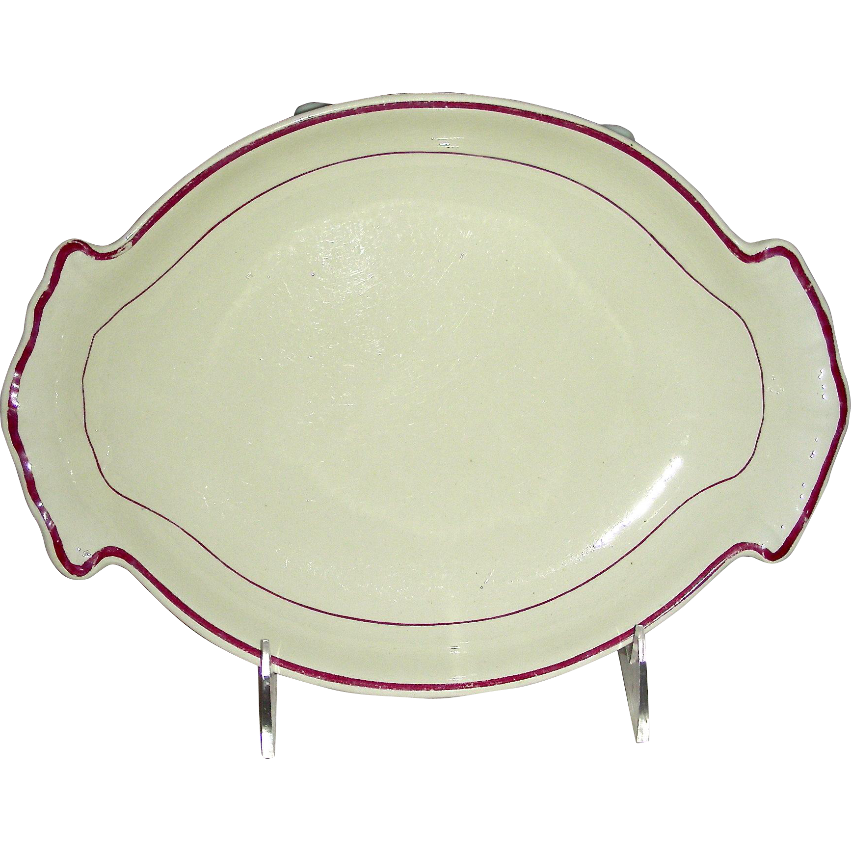 English Creamware Dessert Dish w/ Rare Purple Enameled Highlight, Marked Davenport, c. 1820