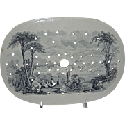 American Historical Staffordshire Drainer: Hudson City, New York, Catskill Moss Series, c. 1835-1840